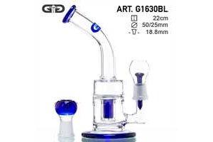 Skleněný bong Grace Glass Saxo Bubbler modrý, 22cm